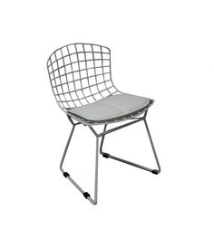 An irresistible pint sized replica of the classic 1950's Bertoia chair. The chair is extremely solid and built to last, with stoppers on the base to ensure no harm to flooring.  NB: This item is not an original and is not associated in any way with the original design  NB: Please note that this chair is now only available in chrome finish