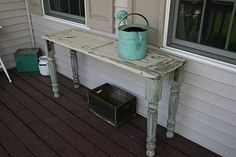 Such a cute table, made from an old shutter. Must do this!