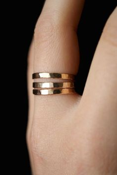 Extra Thick Gold Stack rings, Set of 3 Gold Stack rings, stackable rings, extra thick gold ring, ham Diamond Stacking Rings, Stackable Rings, Gold Band Ring, Gold Bands, Stacked Wedding Rings, Ringe Gold, Hammered Gold, Ring Set, Wrap