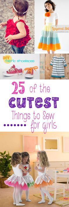 Here are 25 of the cutest things to sew for girls. From skirts to aprons and dresses and dolls.