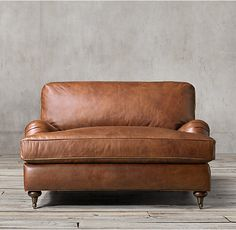 Bone or Camel. English Roll Arm Leather Chair-and-a-Half
