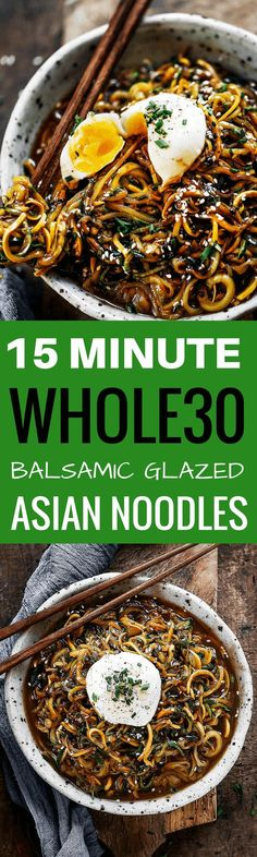 192 calorie whole30 balsamic glazed asian zucchini noodles! Super easy whole30 and paleo meal. A healthy dinner recipe for the whole family!