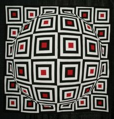 How can his quilt be perfectly flat but look like it has a big bubble in the middle? Optical Illusion Quilts, Optical Illusions, 3d Quilts, Rainbow Quilt, Quilting Board, Landscape Quilts, Quilt Top, Bargello, Black And White Quilts