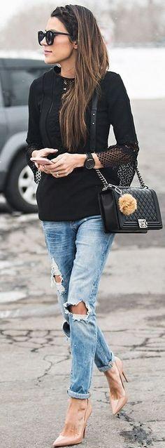 Black Eyelet Dress Worn As A Top | Black And Denim CAsual Chic Street Style | Hello Fashion #black