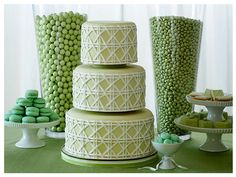 That gorgeous green cake makes me want to have another wedding.