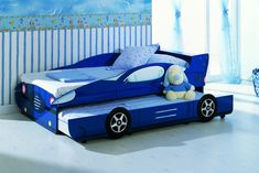 KIDS BLUE TRUNDLE BED RACING BOYS CAR BED