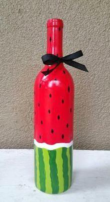 Beer Bottle Crafts, Wine Bottle Art, Diy Bottle, Beer Bottles, Wine Art, Painted Glass Bottles, Decorated Bottles, Jar Crafts, Shell Crafts