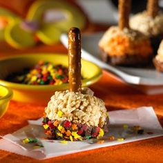 Pretzels, sprinkles and melted chocolate make this a great fall recipe that's sure to become a family favorite.