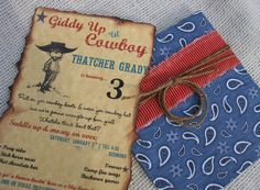 Cowboy Party Invitation in blue paisley red by LittlePinkTractor, $3.95