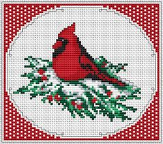 Christmas Cardinal free cross stitch pattern