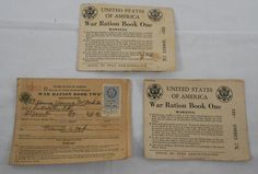 3 WWII War Ration Book One 1942 Stamps Books Sequential Numbers McCord Atlanta