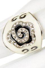 Black & White Enamel Fashion Ring