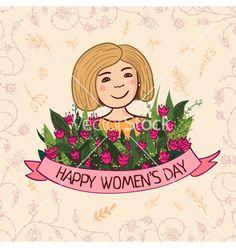 Greeting card happy womens day blonde vector  - by samiola-la-la on VectorStock®