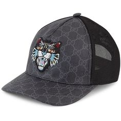 Gucci Angry Cat GG Supreme Canvas Baseball Cap (460 NZD) ❤ liked on  Polyvore featuring men s fashion, men s accessories, men s hats, men s cold  weather ... 8a4c81680bd