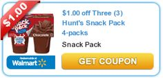 4ct Hunts Snack Pack Pudding Only $0.67 Each at Walmart!