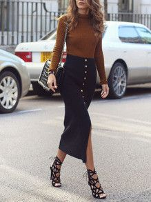 60 Top Fall-Winter Outfits On The Street 2016 - Sunglasses - Asos // Mustard Roll Neck Jumper - Topshop // Button Down Skirt - Primark N/A online Neue Outfits, Outfits Damen, Style Work, Mode Style, 50 Style, Fall Winter Outfits, Autumn Winter Fashion, Winter Wear, Spring Outfits