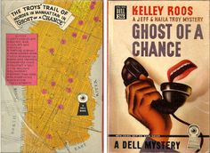 GHOST OF A CHANCE by Kelley Roos.  A Jeff & Haila Troy Mystery from 1947. Dell Map Back #266 with book cover art by Gerald Gregg.