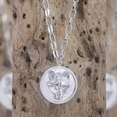 Silver Long Wolf Disc Necklace | Alexa K | Wolf & Badger