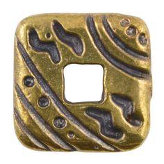 Casting Beads-17mm Square with Design-Antique Bronze-Quantity 1