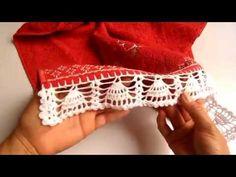 """Como fazer """" barrado em crochê"""" na toalha de lavabo/NÍVEL FÁCIL - YouTube"""