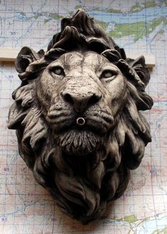 A composition stone lion fountain head,