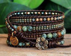 Beaded Gemstone Five Wrap Bracelet Pietersite Gemstone Bead