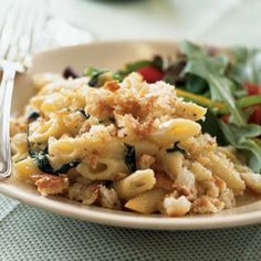 Cooking Light Penne with Pancetta, Spinach, and Buttery Crumb Topping