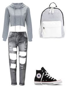 """""""Untitled #115"""" by elma-alibasic ❤ liked on Polyvore featuring Converse and Poverty Flats"""