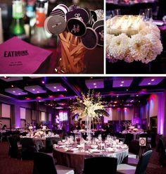Hard Rock Hotel San Diego wedding, #modernwedding , purple wedding decor, modern ballroom reception, personalized napkins, personalized drink stirrers, www.blissevent.com