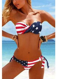 Our Summer Bandeau Bikini is the perfect Bikini to wear the beach to show off your American Pride! Our Bikini's are fully stocked with the best price on the market. Live the American Dream in this Summer's hottest item- our Red, White & Blue Patriotic American Flag Bikini!