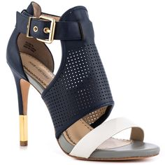 Be smart and savvy in the sophisticated Selena by Pour La Victoire. This luxurious look features a perforated navy leather and adjustable ankle strap. A contrasting white vamp accents the upper while a 4 inch heel sums up this quality crafted sandal. White And Gold Heels, White Gold, Shoe Boots, Shoes Heels, Pumps, Stilettos, Stiletto Heels, Selena, Dream Shoes