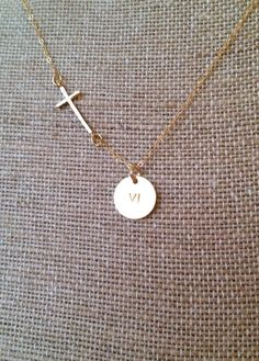 Customizable Sideways Cross Necklace {gold and sterling silver}