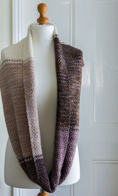 Large Shaded English Rose Tweed Cowl in Natural tones, showing full length and front and reverse of stitch pattern