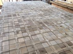 Wood wall tiles with oxidized surface. Tony Horton Collection