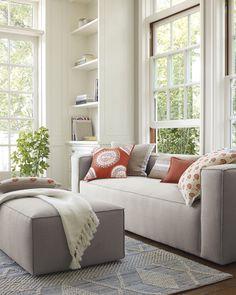 A pop of papaya | Amagansett Sofa via Serena & Lily