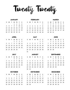 Free Calendar 2020 Printable One Page in 4 different minimalist designs and 3 sizes (US letter, A4, Classic Happy Planner).This Free Printable year at a glance calendar will help you stay organized. #planner #calendar #2020 #calendar2020 #printable #freeprintable #plannerprintables #happyplanner #lovelyplanner