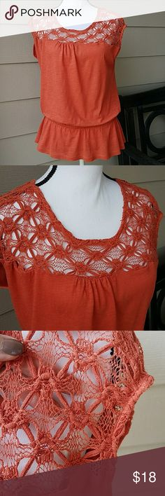 Loft Crochet Detail Peplum Top  SZ Large Petite Has Open Crochet W/Gathered Elastic Waist, Keyhole Detail at Back Neck with Button Closure, Machine Washable. Washed and Worn but Still in Great Shape. Color; Kind of a Muted Orange. LOFT Tops Blouses