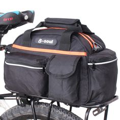 Cycling Roswheel Bicycle Bag Multifunction 13l Bike Tail Rear Bag Saddle Cycling Bicicleta Basket Rack Trunk Bag Shoulder Handbag Crease-Resistance Bicycle Accessories