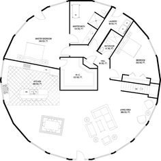 Deltec Homes- Floorplan Gallery | Round Floorplans | Custom Floorplans - a two story yurt floor plan complete with garage and ample storage