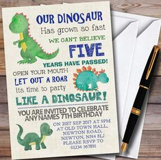 Party Like A Dinosaur Personalized Children's Birthday Party Invitations 4th Birthday Party For Boys, Dinosaur Birthday Party, Birthday Ideas, Dinosaur Party Invitations, Birthday Party Invitations, Neymar Birthday, Party Ideas, Masons, Jurassic Park