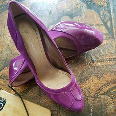 $75 Bcbgeneration Sz 7 Purple Suede Heels Worn 1x!