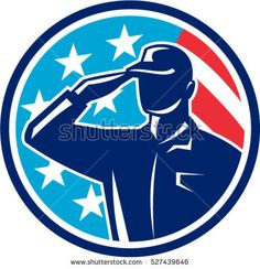 Illustration of an american soldier serviceman silhouette saluting set inside circle with usa flag stars and stripes in the background done in retro style.  #soldier #silhouette #illustration