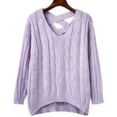 Crisscross Back V Neck Sweater (32 CAD) ❤ liked on Polyvore featuring tops, sweaters, v-neck sweater, cross back sweater, v-neck tops, purple sweater and criss cross back top
