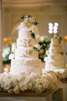 Traditional Ceremony + Ballroom Reception with Blue & Gold Décor - Inside Weddings Wedding Photo Gallery, Wedding Photos, Wedding Ceremony, Our Wedding, Tall Cakes, Gold Color Palettes, Floral Event Design, Beautiful Wedding Cakes, Reception Decorations
