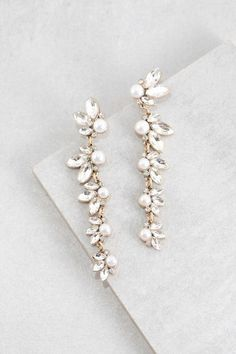 Stone and pearl long dangle earrings perfect for a bride