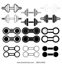 Dumbbells. Set inventory for Exercise,flat, graphic design icons.