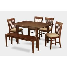6-piece Dinette Table and 4 Dining Chairs and Bench (Microfiber), Brown, Size 6-Piece Sets