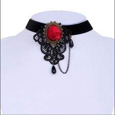 SEXY Lace chocker necklace Beautiful vintage gothic collar chocker red rose lace adjustable necklace new Jewelry Necklaces