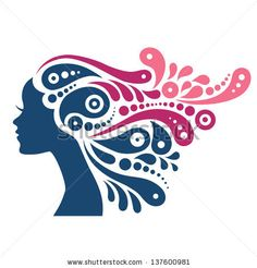 Lov the tattoo design. Beautiful Woman Silhouette. Tattoo Of Abstract Girl Hair Stock Vector 137600981 : Shutterstock