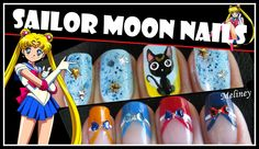 HALLOWEEN NAILS | SAILOR MOON NAIL ART DESIGN ANIME CARTOON FRENCH TIP M...